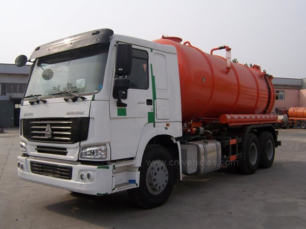 Sinotruk HOWO Vacuum Suction Truck With Jetting Cleaning KEG Pipe Nozzle 12m3 Tanker
